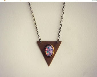 SUMMER SALE triangle pink opal necklace, geometric necklace, triangle jewelry, opal necklace, boho necklace,