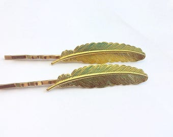 Gold Feather Bobby Pin. Hair Accessory. Bridal Hair. Gift for Her. Festival Hair. Gold Hair Pins.