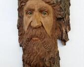 Woodspirit woodsman, Rustic Cottonwood Bark carving by Kathy Overcash