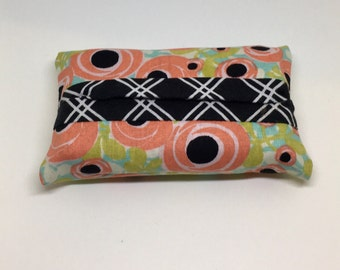 Travel size- Fabric tissue holder- floral and black