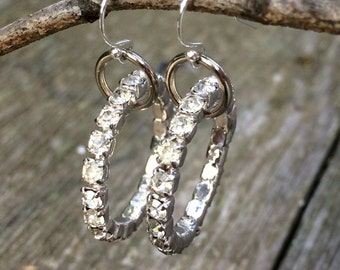 vintage rhinestone HOOP earrings
