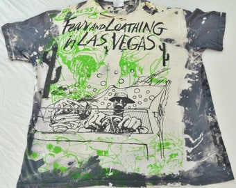 Rare Thrashed Fear And Loathing In Las Vegas Ralph Steadmen All Over Print Shirt Hunter Thompson Size XL T-Shirt Drugs Trip Acid Stoner