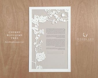 Cherry Blossoms Tree papercut ketubah | wedding vows | anniversary gift