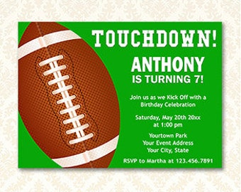 Football Birthday Invitations, Printable Touchdown Football Party Invite Cards, Sports Party, Your Words Digital Download