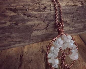 Tree of Life Necklace - Pendant Necklace - Rose Quartz - Copper Necklace - Wire Wrapped Pendant - Layer Necklace