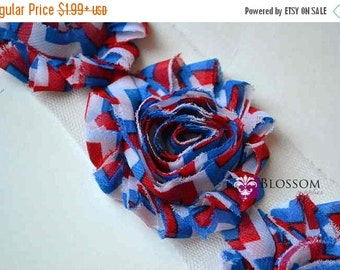 HOLIDAY SALE 1/2 or 1 YARD Increments - Red White Blue Chevron - Chiffon Shabby Rose Trim - Patriotic - Headband Flowers