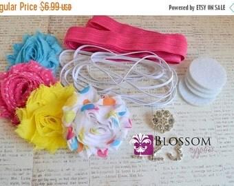 HOLIDAY SALE DIY Headband Making Kit - Birthday Collection - U Pick the Rhinestone - Chiffon Frayed Flowers - First Birthday - Flower Headba