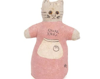 Vintage Folk Art Cat Kitten Hand Painted Gauze Linen Hand Sewn Figurine Artist Signed