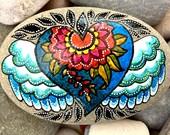 love warrior / painted stones / painted rocks / altar art / boho art / hippie art / boho decor / paperweights / rock art /hand painted rocks