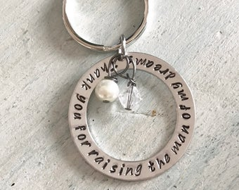 Mother of the groom Key chain. Wedding party gift. Mother of the groom gift. Thank you for raising the man of my dreams
