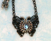 Black rhinestone vintage style butterfly necklace set, gunmetal and crystal beaded pendant necklace and earrings, silver and grey, gifts