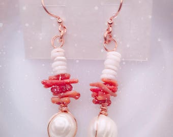 Puka shells and coral earrings