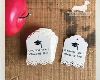 CLEARANCE! Congrats Grad. Lacey Gift Tags (Set of 10) -- (Vintage-Style, 2017 Graduation, Party Favor, Thank You Tags, College, High School)