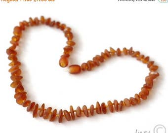 CHRISTMAS SALE Raw Unpolished Baltic Amber Baby Teething Necklace Cognac Color