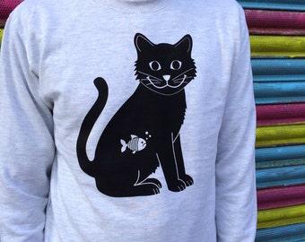 Happy Cat Sweatshirt, Black Cat Sweater, Cat Jumper, Funny Cat Jumper, Kitten Sweater, Screenprinted jumper, Cat Clothing, black cat print