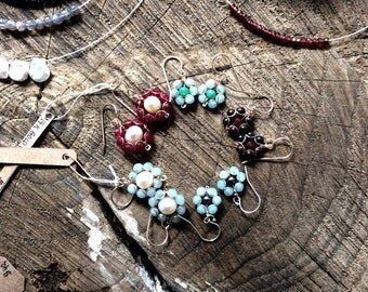 Flowerearrings, Rubies, Pearls, 14 k Gold fill, present for her
