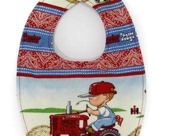 Farmall IH Tractor Little Farmer Baby Bib, newborn to 6 month