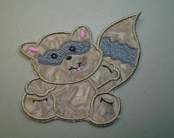 Iron on or sew on applique or patch of  a racoon
