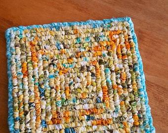 Blue Bird, 7 x 7 Inch Pot Holder, Fabric Table Trivet, yellows, Blues, Spring Kitchen Decor