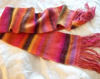 Handknit & Hand Dyed Merino Scarf