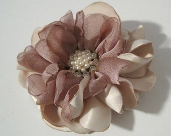 Rose Gold and Light Champagne Satin and Chiffon Flower Hair Clip Bride Bridesmaid Mother of the Bride with Pearl and Rhinestone Accent