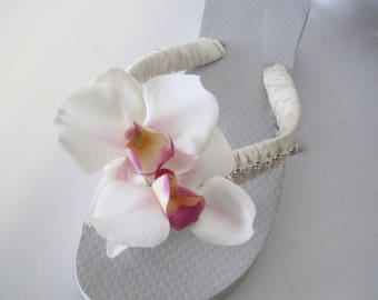 Flip Flops Bridal Wedding Ivory French Knotted with Pearl and Rhinestone Trim and Beautiful Orchid Flower Accents Destination Wedding