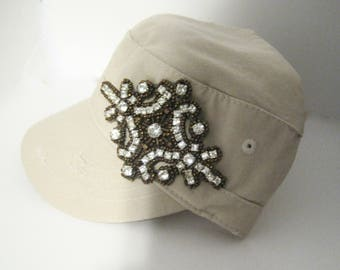 Khaki Short Bill Cadet Military Distressed Army Hat with a Beautiful Crystal Rhinestone Bronze Beaded Appliqué Pony Tail Back Accessories