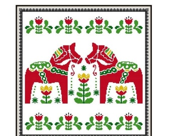 HALF OFF STOCK Up Sale Folk Art Cross Stitch Pattern - Scandinavian Cross Stitch Pdf - Dala Horse Cross Stitch Pattern - Christmas Cross Sti