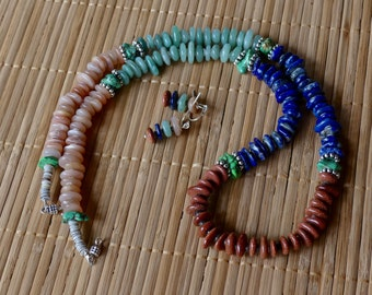 28 Inch Four Color Southwestern Freeform Gemstone, Shell Heishi and Turquoise Necklace with Earrings