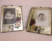 Pair of Victorian Photo Frames~Original Photos~Hand Painted on Glass~Roses