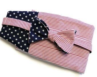 Mens Cummerbund Set~American Flag Cummerbund~American Flag Bow Tie~Mens Formal Wear~Mens Bow Tie~Self Tie Bow Tie~Wedding~Mens Gift