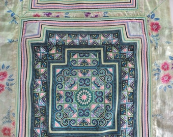Vintage Hmong Fabric, handmade tapestry textiles, hill tribal fabrics- Baby carrier- from Thailand