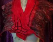 Easter Special Felted collar, original design,Organic, Hand made, in USA, gypsy shawl, Fashion scarf,summer scarf, Wearable art,healthy fash