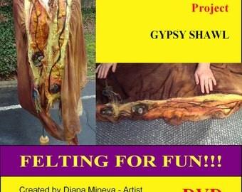DIY Gypsy shawl, Scarf with curls, Gypsy shawl with roses, Felting classes