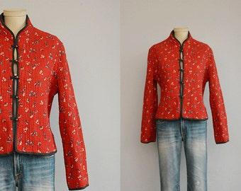 Vintage Quilted Jacket /  Red Indian Cotton Floral Print Jacket / Quilted Ethnic Boho Jacket