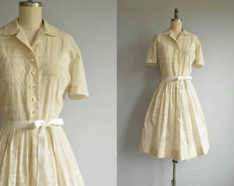 Vintage 1950s Dress / 50s Sheer Beige Embroidered Eyelet Shirt Dress with Full Pleated Skirt
