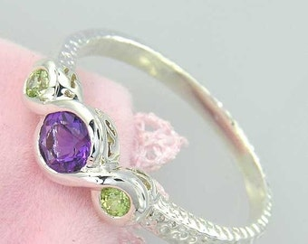 SALE 2 days only Amethyst and Peridot Sterling Ring. Purple Amethyst and Green Peridot 3 stone Ring in 925 Sterling Silver. Hammered Finish.