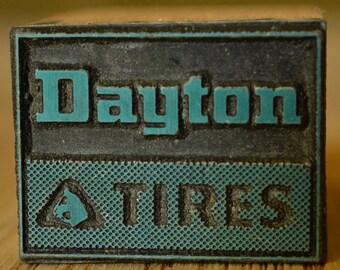Dayton Tires Printer's Block Letterpress