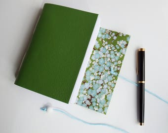 Blossom Leather Hand Bound Journal, Wrap Journal, Blank Book, Mindfulness Journal, Bullet Journal, Leather Sketchbook, Leather Notebook A6