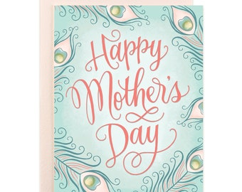 Happy Mother's Day Peacock Feathers Card
