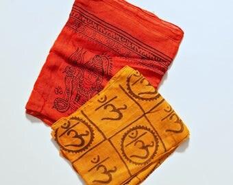 Hindu Goddess Indian Om Cotton Scarf Boho Head Wrap