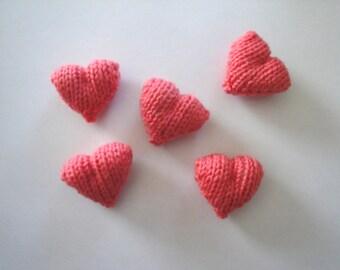 Coral Pink Sweet Hearts, Plush Amigurumi Hearts, Handful of Hearts, Set of 5 Knit Hearts, Cute Kawaii