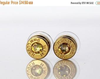30% OFF SALE Bullet Earrings. Luminous Green . 9mm Luger. by Lori Davidson