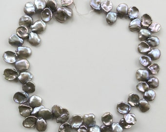 """Gray Keishi Pearls Top-Drilled ~ 13-18mm ~ 8"""" Strand"""