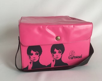 Vintage Pink Case, Toiletry Case, Vintage Twiggy, Vintage Carousel