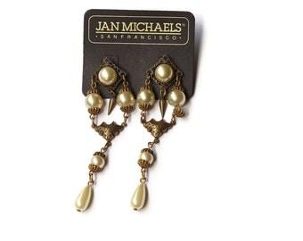 Vintage Jan Michaels Pearl Statement Earrings
