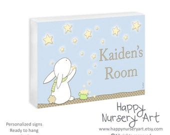 Personalized boys nursery door sign, Baby shower gift,Custom name baby sign,Toddler room plaque,Wall art Newborn boy or girl door hanger art