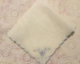 Vintage Embroidered Handkerchief,Bridal Hankie,Something Blue