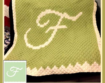 Letter F Baby Afghan, C2C Graph, Crochet Pattern