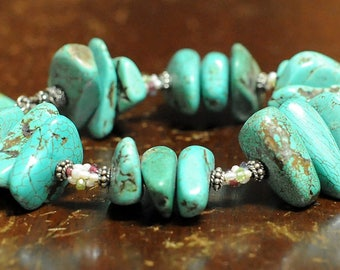 Vintage Chunky Turquoise, Sterling Silver, Pearl Beads, Bracelet!  Boho, Chic, Rustic, Stacking Bracelet, Turquoise, Nuggets Free Shipping!!
